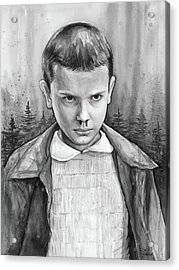 Stranger Things Fan Art Eleven Acrylic Print by Olga Shvartsur