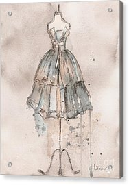 Strapless Champagne Dress Acrylic Print by Lauren Maurer