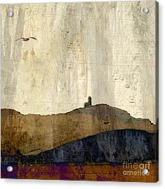 Acrylic Print featuring the photograph Strata With Lighthouse And Gull by LemonArt Photography