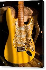 Stratocaster Plus In Graffiti Yellow Acrylic Print