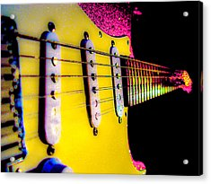 Acrylic Print featuring the photograph Stratocaster Pop Art Pink Fire Neck Series by Guitar Wacky