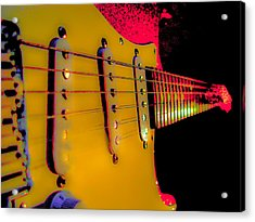 Acrylic Print featuring the photograph Guitar Pop Art Hot Rasberry Fire Neck Series by Guitar Wacky