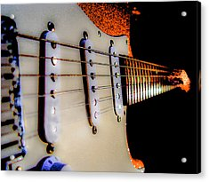 Acrylic Print featuring the photograph Stratocaster Pop Art Tangerine Sparkle Fire Neck Series by Guitar Wacky