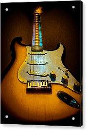 Stratocaster Tobacco Burst Glow Neck Series  Acrylic Print