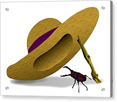 Straw Hat And Stag Beetle Acrylic Print
