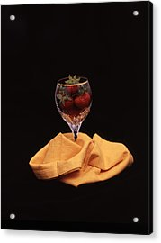 Strawberries In A Glass Acrylic Print by Ayesha  Lakes