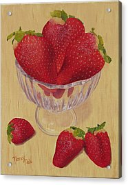 Acrylic Print featuring the painting Strawberries In Crystal Dish by Nancy Nale