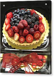 Acrylic Print featuring the photograph Strawberries Rasberries Luscious Dessert Fruit Pie With Red Bow  by Kathy Fornal