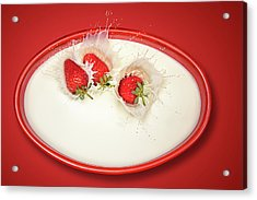 Strawberries Splashing In Milk Acrylic Print