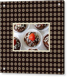 Acrylic Print featuring the photograph Strawberry And Dark Chocolate Mousse Dessert by Shelley Neff