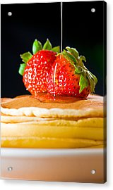 Strawberry Butter Pancake With Honey Maple Sirup Flowing Down Acrylic Print