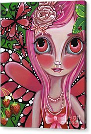 Strawberry Butterfly Fairy Acrylic Print by Jaz Higgins