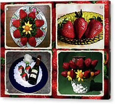 Acrylic Print featuring the photograph Strawberry Collage by Sally Weigand