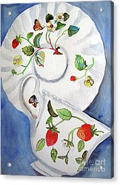 Strawberry Cup And Saucer Acrylic Print by Sandy McIntire