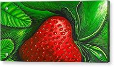Strawberry Acrylic Print by David Junod