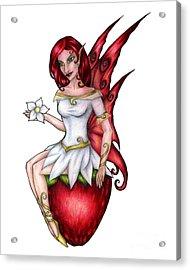 Strawberry Fairy Drawing Acrylic Print