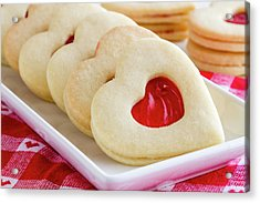 Acrylic Print featuring the photograph Strawberry Jam Filled Heart Cookies by Teri Virbickis