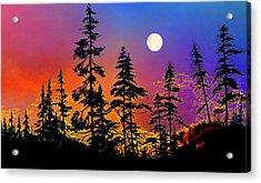 Strawberry Moon Sunset Acrylic Print by Hanne Lore Koehler