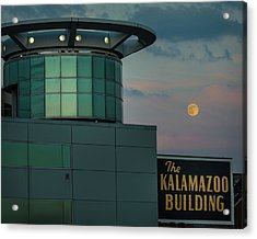 Strawberry Moonrise Over Kalamazoo Acrylic Print