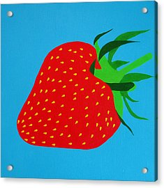 Strawberry Pop Acrylic Print by Oliver Johnston