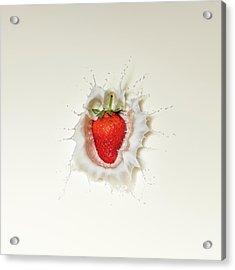 Strawberry Splash In Milk Acrylic Print
