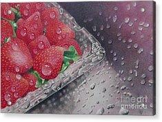 Strawberry Splash Acrylic Print by Pamela Clements