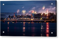 Street Fireworks By The Blue Bridge Acrylic Print