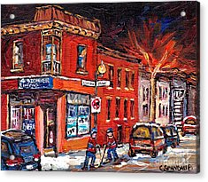 Street Hockey Night Scene Painting 4 Saisons Depanneur Rue St Dominique And Pine Montreal Scene Art Acrylic Print by Carole Spandau