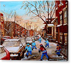 Street Hockey On Jeanne Mance Acrylic Print by Carole Spandau