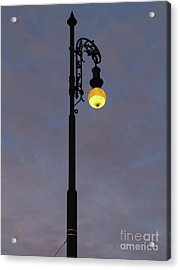 Acrylic Print featuring the photograph Street Lamp Shining At Dusk by Michal Boubin
