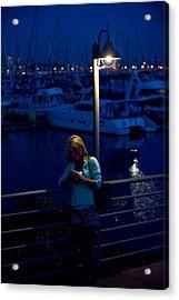 Street Light Texting Acrylic Print by Tom Dowd