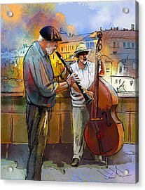 Street Musicians In Prague In The Czech Republic 01 Acrylic Print by Miki De Goodaboom