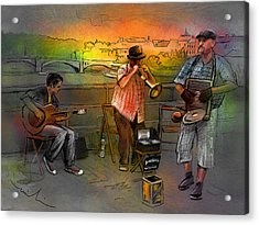 Street Musicians In Prague In The Czech Republic 03 Acrylic Print by Miki De Goodaboom