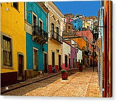Street Of Color Guanajuato 4 Acrylic Print by Mexicolors Art Photography