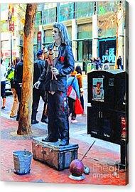 Street Performer 2 . Photoart Acrylic Print by Wingsdomain Art and Photography