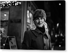 Street Portrait Of A Woman Acrylic Print by The Man With a Hat