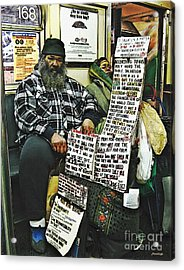 Street Preacher On The A Train Acrylic Print by Sarah Loft