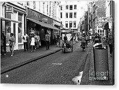 Street Riding In Amsterdam Mono Acrylic Print by John Rizzuto