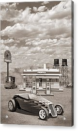 Street Rod At Frontier Station Sepia Acrylic Print