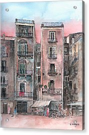 Street Scene At Twilight Acrylic Print