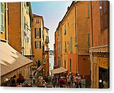Street Scene In Villefranche Acrylic Print by Steven Sparks