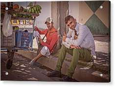 Acrylic Print featuring the photograph Street Vendors In Cienfuegos Cuba by Joan Carroll