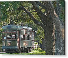 Streetcar Under The Oak Trees Acrylic Print