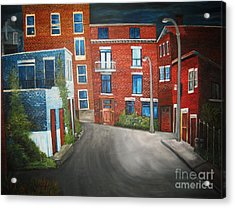 Streets Of Montreal  Joly Acrylic Print by Reb Frost