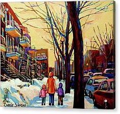 Streets Of Montreal Rue Debullion  Winter In The Plateau Acrylic Print by Carole Spandau