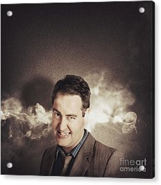 Stressed Businessman With Steaming Hot Headache Acrylic Print