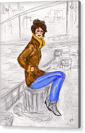 Acrylic Print featuring the drawing Strike A Pose by Desline Vitto