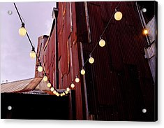 String Of Lights Near An Old Brown Building In Saint Augustine F Acrylic Print
