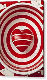 Striped Heart In Bowl Acrylic Print by Garry Gay