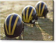Striped Helmets On A Yard Line Acrylic Print